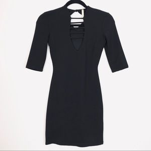 EUC Glare Black Body Con 3/4 Sleeve Mini Dress